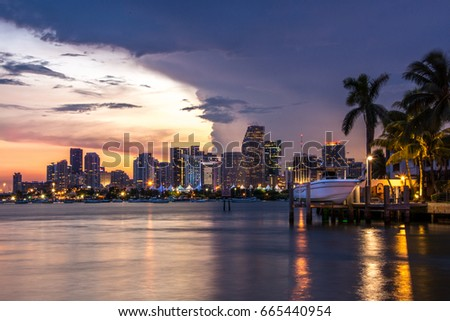 Miami Beach Florida USA sunset boat port palm tree