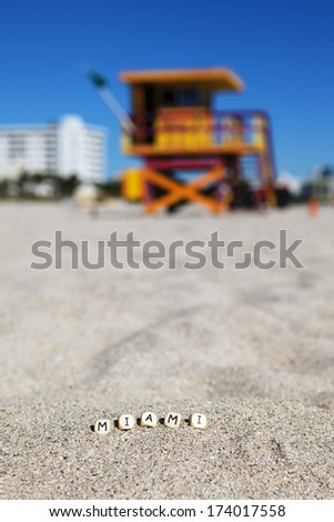 Miami Beach, Florida, with letters on the sand - stock photo