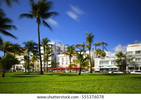 MIAMI BEACH - JANUARY 11: Stock photo of iconic art deco hotels along Ocean Drive which is the easternmost road in Miami Beach January 11, 2017 in Miami Beach FL, USA