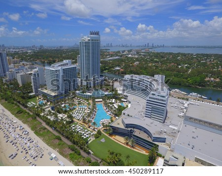 MIAMI BEACH - JULY 9: Aerial photo of the Fontainebleau Hotel and spa located at 4441 Collins Avenue opened in 1954 and frequented by stars such as Frank Sinatra July 9, 2016 in Miami Beach FL