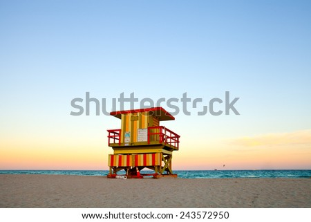 Miami Beach lifeguard house in Art Deco style at sunset - stock photo