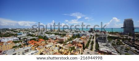 Miami Beach panorama aerial photo - stock photo