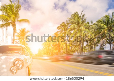 Miami beach , personal concept of a vintage car on Ocean drive - stock photo