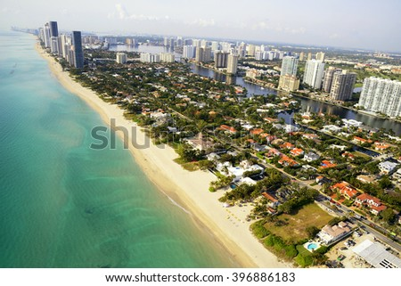 Miami Beach skyline aerial view