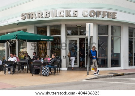 MIAMI BEACH, USA - MARCH 21, 2016: Starbucks coffee store in South Beach. Starbucks is the largest coffeehouse company in the world.