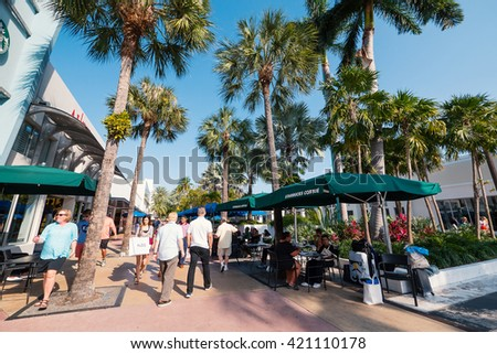 MIAMI BEACH, USA - MARCH 14, 2016: View of the famous Lincoln road in Sobe. South Beach (also known as SoBe), is one of the more popular areas of Miami Beach. - stock photo