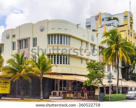 MIAMI BEACH, USA - SEPTEMBER 8, 2015. Art Deco hotel in the touristic avenue Ocean Drive, Miami Beach, Florida. - stock photo