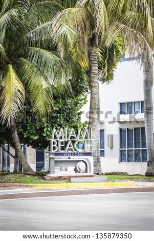 Miami Beach welcome sign, Florida - stock photo