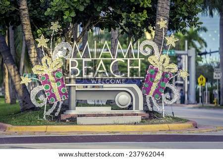 Miami Beach welcome sign with christmas decoration, Florida - stock photo