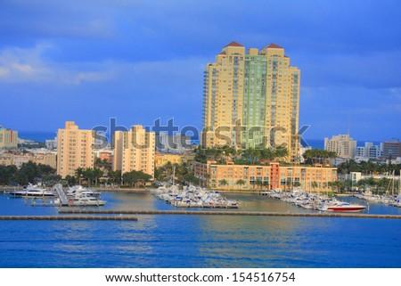 miami city scape in day time ,forida USA - stock photo