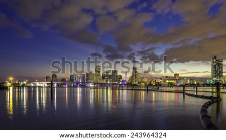 Miami city skyline at dusk with urban skyscrapers , Florida - stock photo