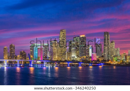 Miami City Skyline viewed from Biscayne Bay - stock photo