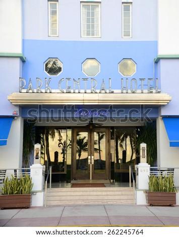 MIAMI - DEC 24: Art Deco Style Building Park Central Entrance in Miami Beach on December 24th, 2012 in Miami, Florida, USA. - stock photo