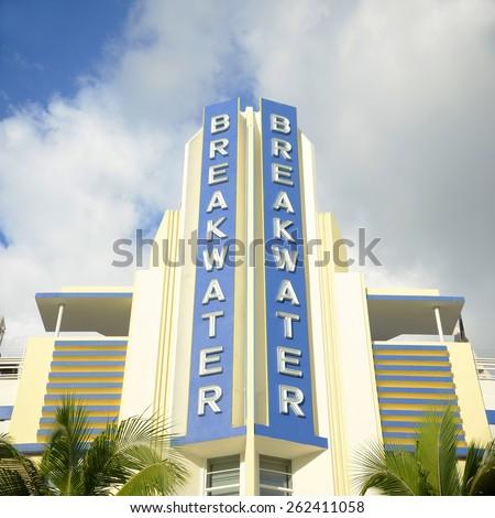 MIAMI - DEC 24: Breakwater Building with Art Deco Style in Miami Beach on December 24th, 2012 in Miami, Florida, USA. - stock photo