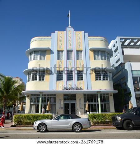 MIAMI - DEC 24: Marlin Hotel with Art Deco Style Building in Miami Beach on December 24th, 2012 in Miami, Florida, USA. - stock photo