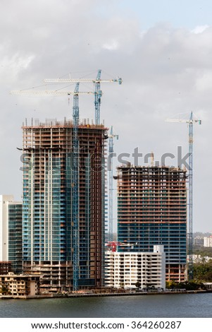 MIAMI - DECEMBER 27 2015: New condos are being built all over Miami since the real-estate market has more than recovered, and prices are back on par with their previous peak in 2005 and 2006.
