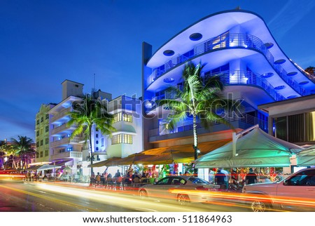 Miami, December 23th 2015, Neon lights on Ocean Drive.