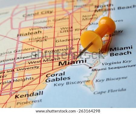 Miami destination in the map - stock photo
