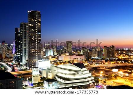 Miami downtown at night, Floride, USA - stock photo