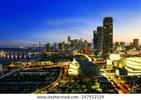 Miami downtown at night, Floride, USA - stock photo