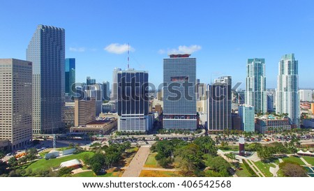 MIAMI - FEBRUARY 25, 2016: Downtown aerial skyline on a beautiful morning. Miami attracts 10 million tourists annually.