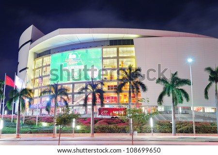 MIAMI, FL - FEB 7: American Airlines Arena at night on February 7, 2012 in Miami, Florida. It is home to the Miami Heat with 2105 seats and has the Florida's largest theater The Waterfront Theater. - stock photo