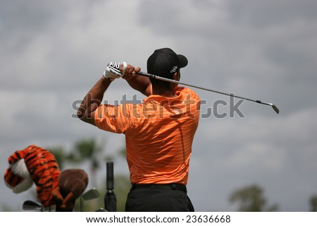 MIAMI, FL - FEB 22, 2007 - Tiger Woods at World golf championship, doral golf course, Miami, feb 22, 2007, Miami, florida - stock photo