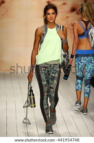 MIAMI, FL - JULY 19: A model walks runway in designer swim apparel during the Maaji Swimwear fashion show at W hotel for Miami Swim Week on July 19, 2015 - stock photo