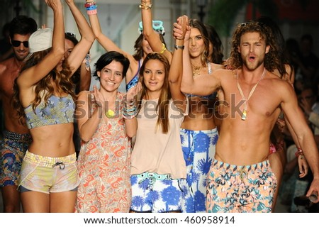 MIAMI, FL - JULY 17: Designers and Modes walk the runway during Maaji Spring Summer 2017 Runway Show at Funkshion tent on July 17, 2016 in Miami Beach, FL