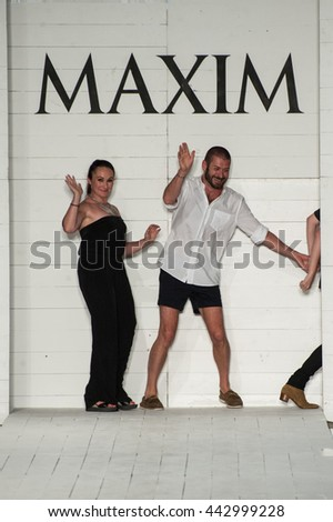 MIAMI, FL - JULY 18: Kate Lanphear has teamed up with the Onis Design Group to produce the Maxim Swimwear Launch fashion show at SLS hotel on July 18, 2015