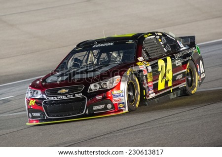 MIAMI, FL - Nov 14: Jeff Gordon wins the Coors Light Pole at the Nascar Sprint Cup Ford Ecoboost 400 Qualifying at Miami Speedway in Homestead, FL on November 14, 2014