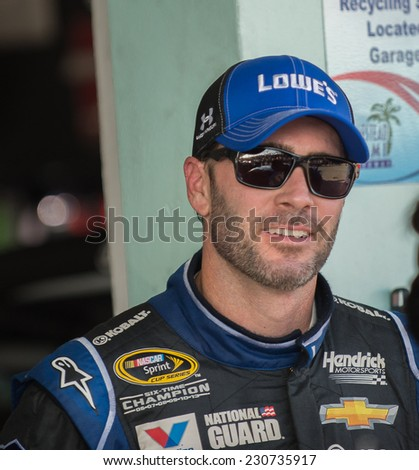 MIAMI, FL - Nov 15: Jimmie Johnson at the Nascar Sprint Cup Ford Ecoboost 400 practice at Miami Speedway in Homestead,FL on November15, 2014