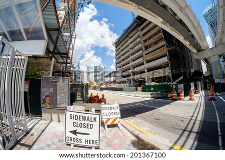 MIAMI, FL USA - JUNE 21, 2014: The Brickell City Centre construction project underway in downtown Miami scheduled to be completed in 2016.