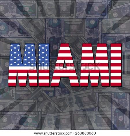 Miami flag text on dollars sunburst illustration - stock photo