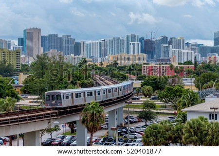 Miami, FLORIDA ?? August 30, 2016: The Miami Metrorail heading towards downtown with the University of Miami hospital in the background. Public transportation is becoming more important in urban life.