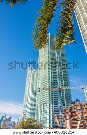 miami florida city skyline and streets - stock photo