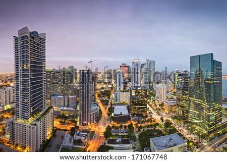 Miami, Florida downtown aerial cityscape. - stock photo