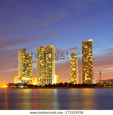 Miami Florida, hotels and buildings at sunset  - stock photo