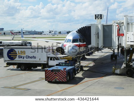 MIAMI, FLORIDA - JUNE 1, 2016: American Airlines plane on tarmac at Miami International Airport. American Airlines operates 274 flights every day from Miami