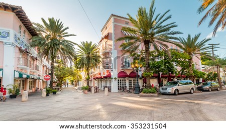 MIAMI, FLORIDA - MAY 15, 2015: The famous Espanola Way in the morning on May 15, 2015 in Miami - Florida.