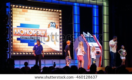 MIAMI, FLORIDA - NOV 21: Game show aboard the Carnival Breeze sailing away from Miami, Florida, as seen on Nov 21, 2015. It is a Dream-class cruise ship which entered service on June 3, 2012.