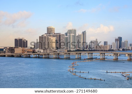 MIAMI, FLORIDA, NOVEMBER 19:  A view across Biscayne Bay to the Edgewater waterfront in Miami, Florida pictured on November 19th, 2014.