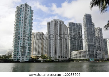 MIAMI FLORIDA-OCTOBER 29: Downtown Miami has grown to become the fastest-growing area in Miami, with large scale high-rise construction and population increase. On October 29 2012 in Miami Forida USA