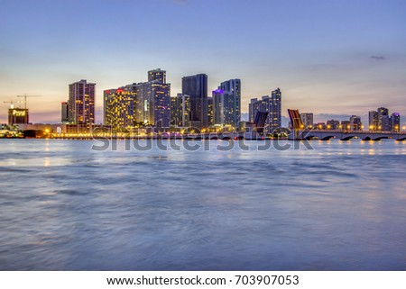 Miami, Florida skyline at sunset