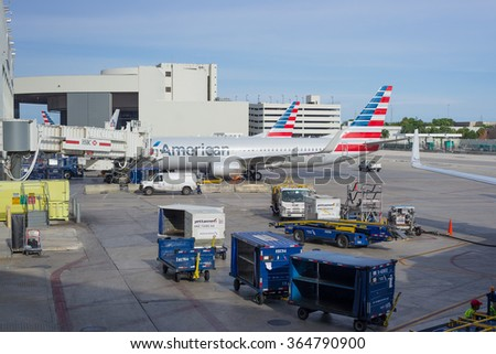 Miami, Florida, United States - September 12, 2015: American Airlines airplanes parked at Miami International Airport, Florida, United States. - stock photo