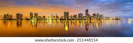Miami, Florida, USA city skyline panorama. - stock photo