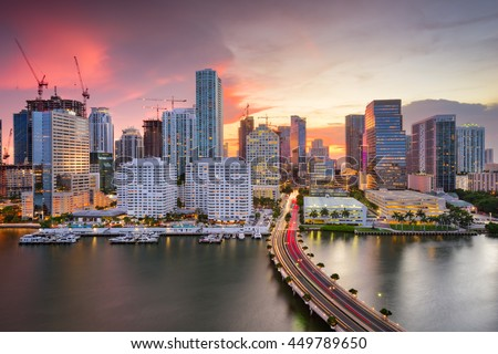 Miami, Florida, USA downtown Skyline. - stock photo