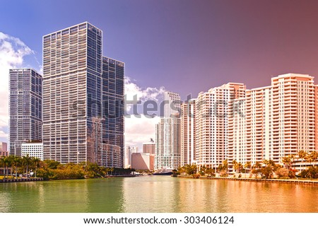 Miami Florida USA, famous travel destination, downtown modern  buildings on a beautiful summer day, Instagram color processing filter for vintage looks - stock photo