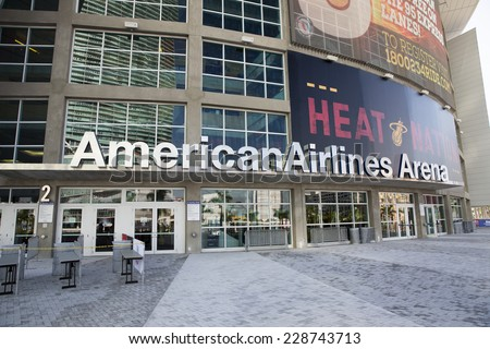 MIAMI,FLORIDA/USA-OCTOBER 30: American Airlines Arena in Miami Biscayne Boulevard as in October 30th 2014 in the City of Miami, Florida.