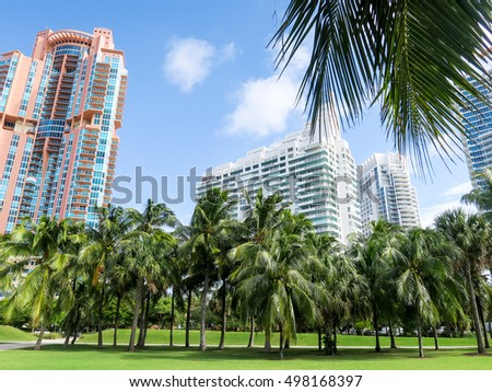 MIAMI, FLORIDA, USA, - OCTOBER 13, 2016: South Pointe Park in Miami
